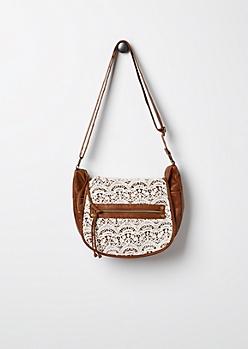 Cognac Crochet Inset Messenger Bag by T-Shirt & Jeans®