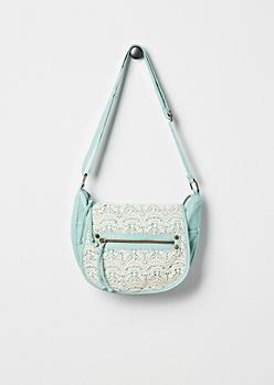Mint Crochet Inset Messenger Bag by T-Shirt & Jeans®