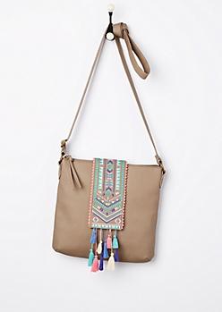 Tribal Tassel Washed Crossbody Bag