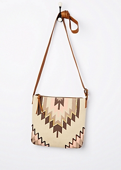 Sequined Desert Canvas Crossbody Bag