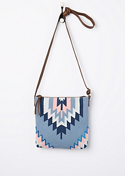 Sequined Southwest Canvas Crossbody Bag