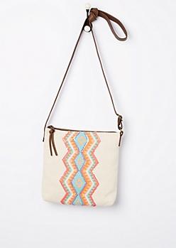 Sequined Aztec Canvas Crossbody Bag