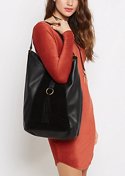Black Tasseled Slouch Hobo Bag