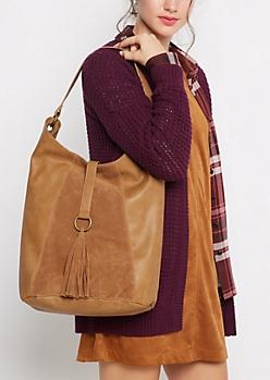 Cognac Tasseled Slouch Hobo Bag