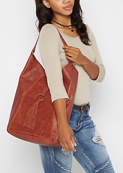 Red Tasseled Slouch Hobo Bag