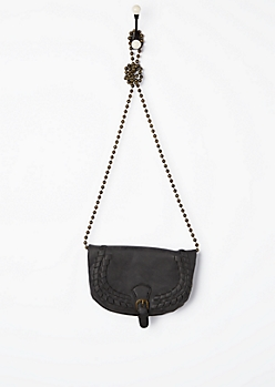 Black Vegan Leather Braided Mini Crossbody