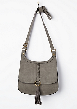 Gray Braided Tassel Crossbody