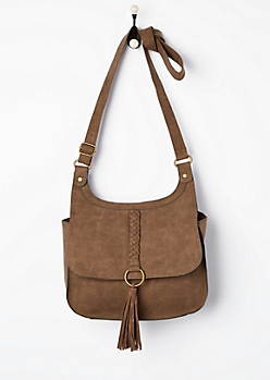 Brown Braided Tassel Crossbody