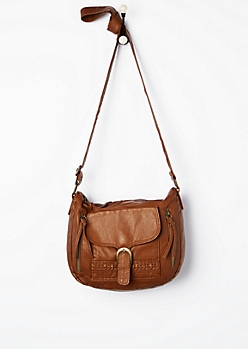 Cognac Braided Desert Crossbody