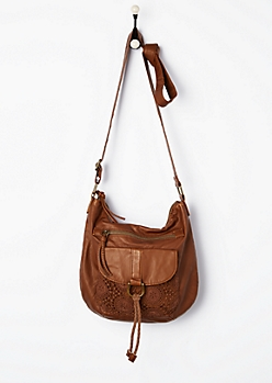 Cognac Crochet Medallion Mini Crossbody
