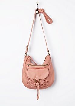 Pink Crochet Medallion Mini Crossbody