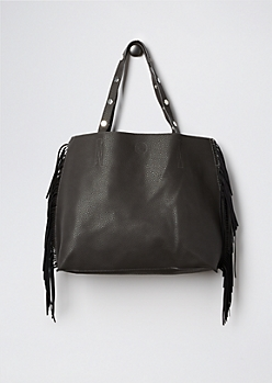 Charcoal Fringed & Studded Tote
