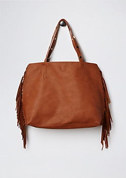 Cognac Fringed & Studded Tote