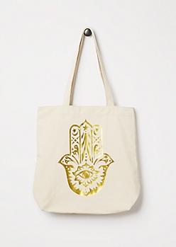 Foiled Hamsa Tote Bag