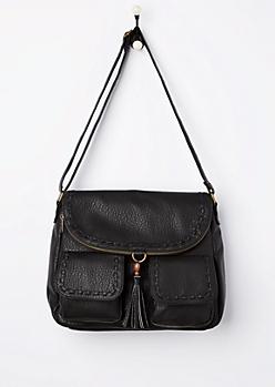 Black Pebbled & Stitched Crossbody Bag