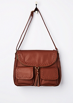 Brown Pebbled & Stitched Crossbody Bag