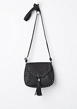 Tassel Stud Flap Mini Crossbody