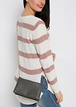 Gray Vegan Leather Foldover Crossbody