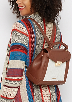 Brown Sherpa Convertible Satchel by Rampage