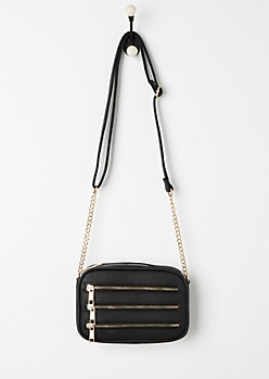 Black 3 Row Zipper Mini Crossbody Bag