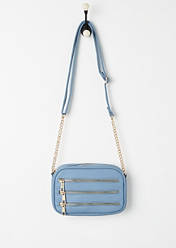 Blue 3 Row Zipper Mini Crossbody Bag
