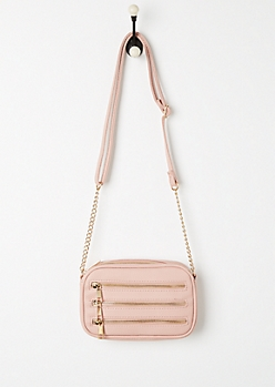 Pink 3 Row Zipper Mini Crossbody Bag
