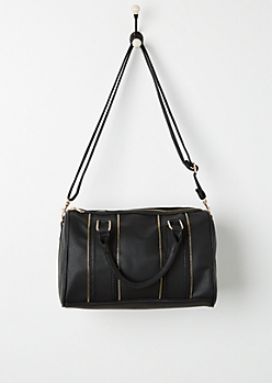 Black Zipper Trim Satchel