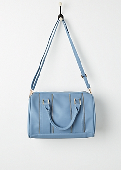 Blue Zipper Trim Satchel