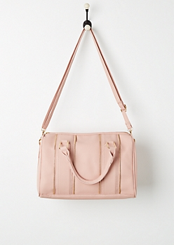 Pink Zipper Trim Satchel