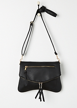 Black Double Zip Foldover Envelope Crossbody