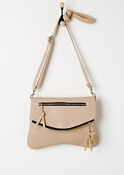 Tan Double Zip Foldover Envelope Crossbody