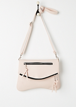 Pink Double Zip Foldover Envelope Crossbody