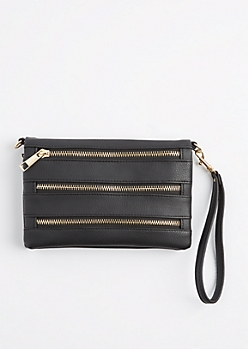 Black Tri Zip Crossbody Purse