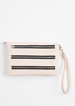 Pink Tri Zip Crossbody Purse