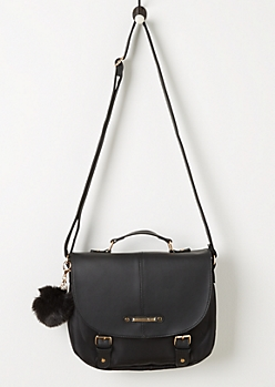 Black Pom Pom Saddle Bag