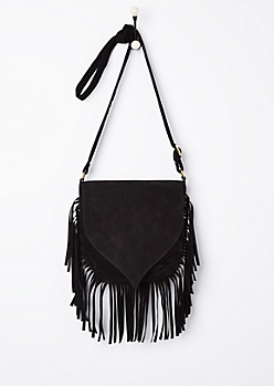 Black Faux Suede Fringed Crossbody Bag