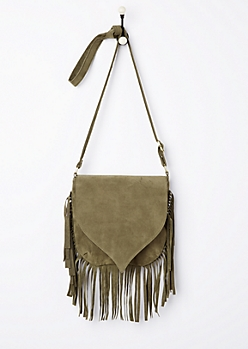 Olive Faux Suede Fringed Crossbody Bag