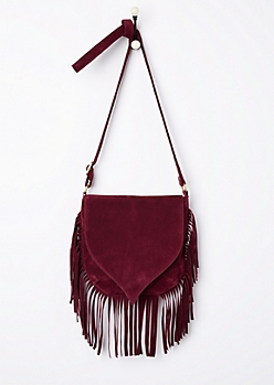 Burgundy Faux Suede Fringed Crossbody Bag