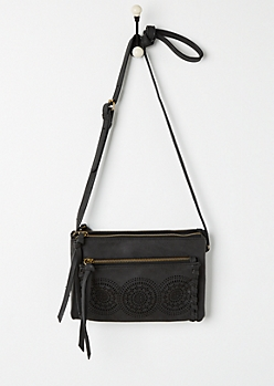 Black Cutout Medallion Crossbody Bag