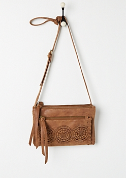 Cognac Cutout Medallion Crossbody Bag