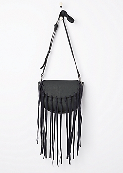 Black Fringe Washed Mini Crossbody