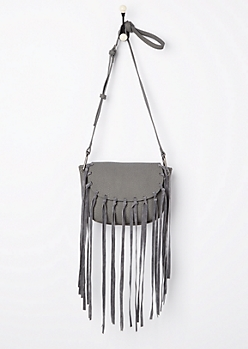 Gray Fringe Washed Mini Crossbody