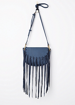 Blue Fringe Washed Mini Crossbody