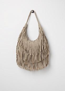 Grey Fringe & Flair Hobo Bag
