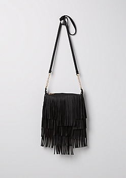 Black Leather Fringe Cross Body