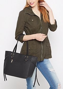 Black Pebbled Tote Bag
