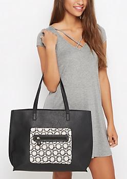 Black Crochet Daisy Tote Bag