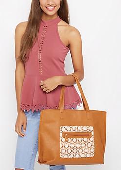 Cognac Crochet Daisy Tote Bag