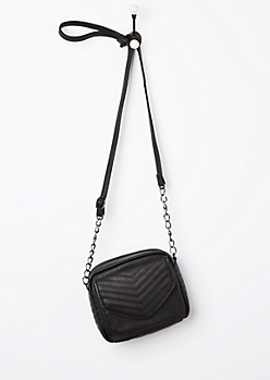 Black Quilted Mini Crossbody Bag