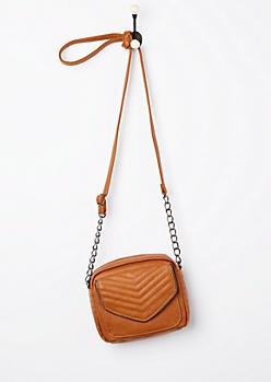 Cognac Quilted Mini Crossbody Bag